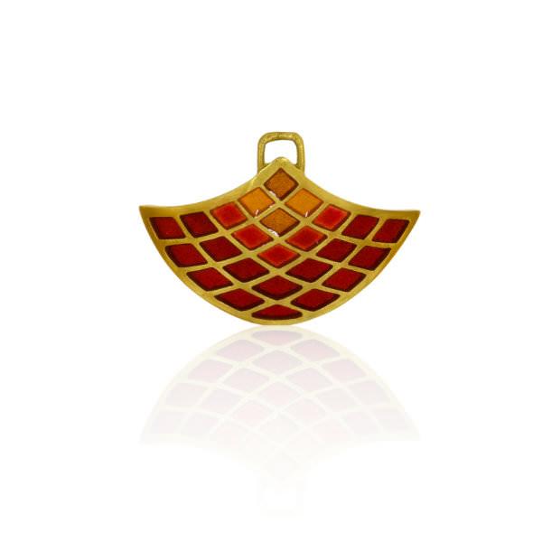 Einhaenger Gelbgoldgold Emaille rot gelb (251025)