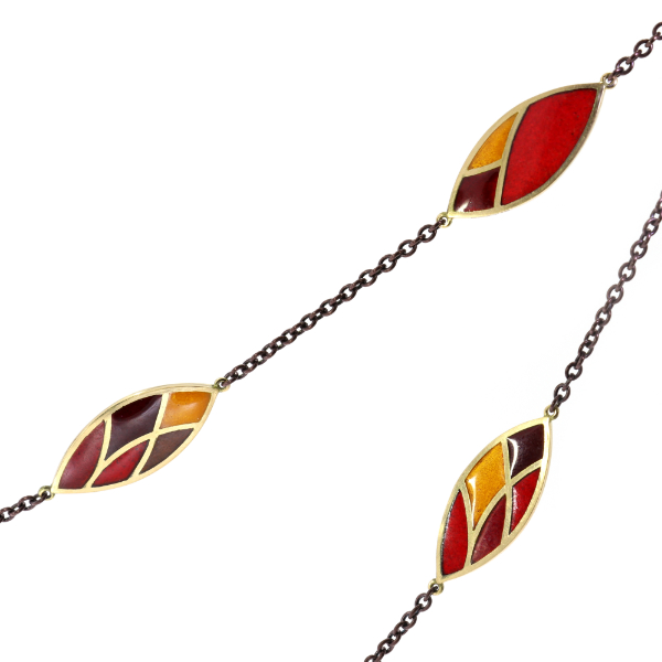 Collier Fairtrade Gelbgold Emaille rot orange grau (251189)