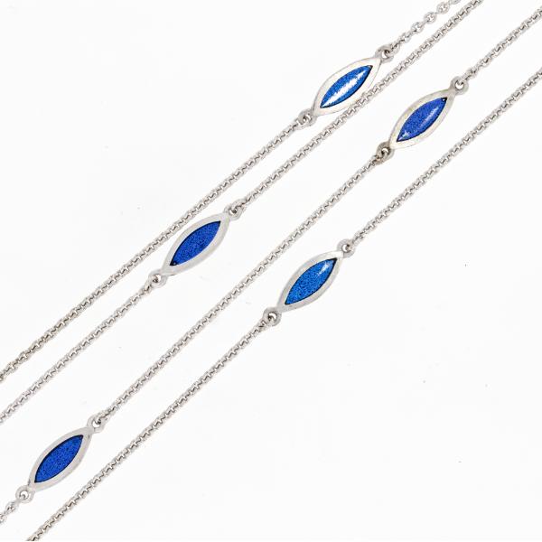 Collier Weissgold Emaille stahlblau (251191)